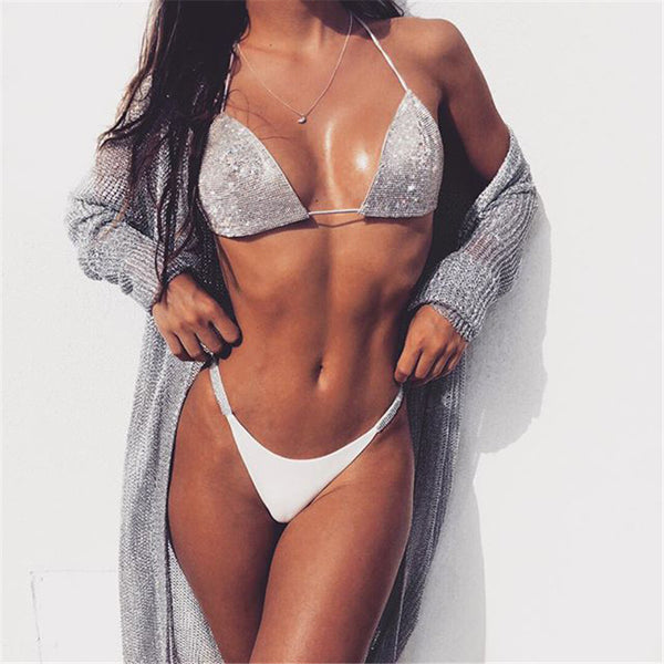 Luxury Bling Rhinestone Bikini Sliver Set 2019 Crystal Diamond Sexy Women Swimsuit Halter Push Up Bandage Swimwear Bikini Set -  200004279 - ShaadiMagic