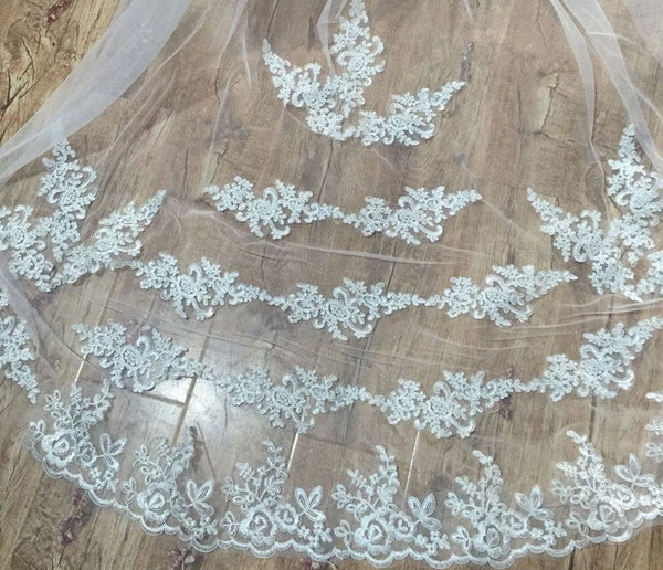One Layer Lace Edge White & Ivory Wedding Veil -  32002 - ShaadiMagic