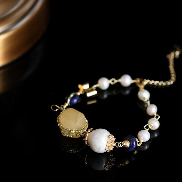Handmade Fresh Water Pearl Natural Stone Adjustable Bracelet -  200001687 - ShaadiMagic