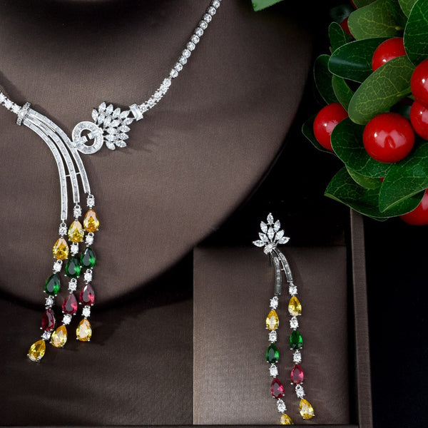 Multi Color Necklace & Earring Jewelry Set -  100007324 - ShaadiMagic