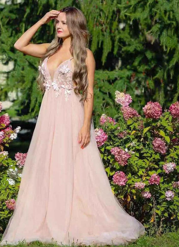 Women Sexy Evening Dress Long 2019 Robe De Soiree Backless Handmade 3D Flower Romantic Spaghetti Straps Prom Dress OL103253-1 -  32004 - ShaadiMagic