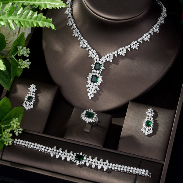 Green Color Square Design Bridal Necklace Earring Set -  100007324 - ShaadiMagic