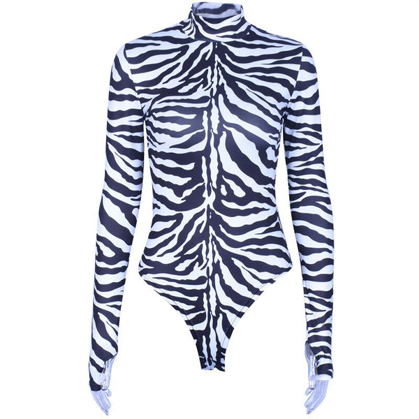 Zebra Animal Print Long Sleeve Bodysuit -  200000362 - ShaadiMagic