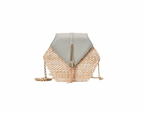 Hexagonal Multi Style Straw Leather Handbag -  [product_type] - ShaadiMagic