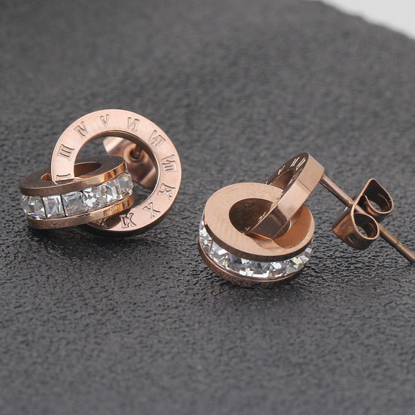 Roman Earring & Necklace Rose Gold -  [product_type] - ShaadiMagic