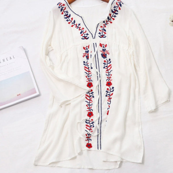 Sexy Cover ups Embroidery Beach Tunic V-neck