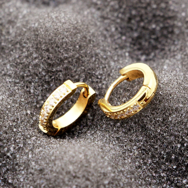 Semi-Circle Inlaid Zircon Hoop Earrings -  [product_type] - ShaadiMagic