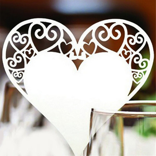 50 Pc. Glass /Table Place Cards Heart Floral -  200220143 - ShaadiMagic