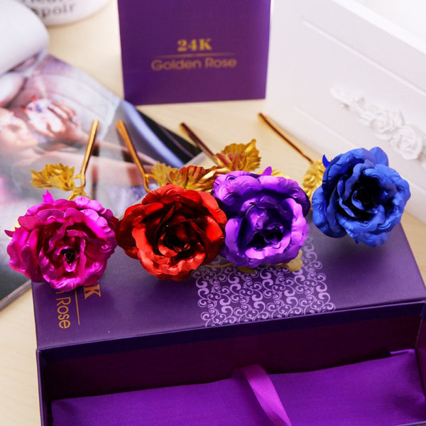 Golden Multicolored Rose in Box -  [product_type] - ShaadiMagic