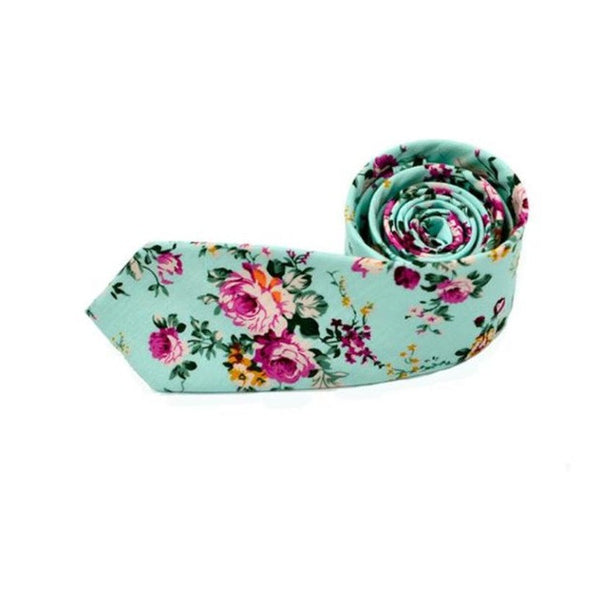 New Floral Printed Skinny Necktie -  [product_type] - ShaadiMagic