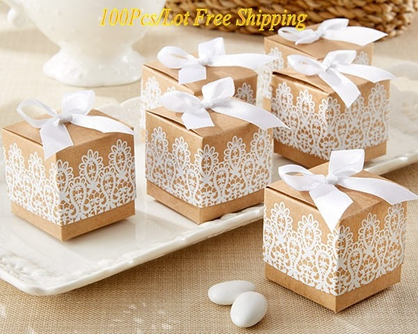 100 Pc. Rustic & Lace Kraft Favor Box -  [product_type] - ShaadiMagic