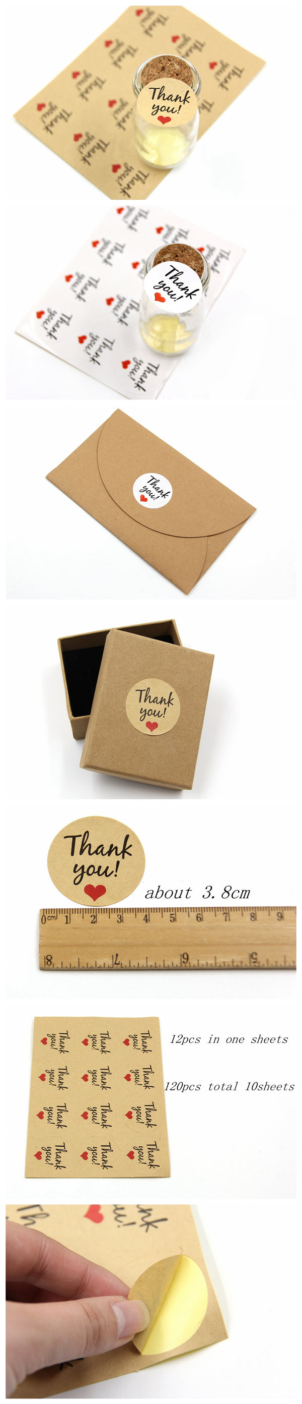 120 Pc. Thank You Kraft/White Paper Gift Tags Stickers