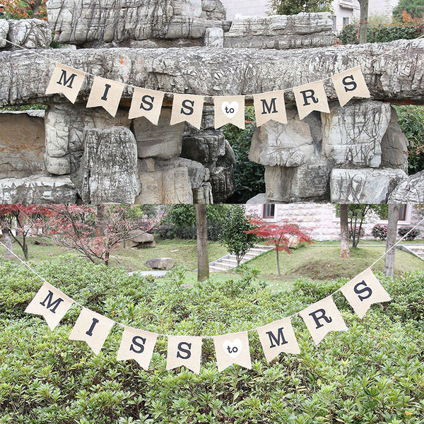 """Miss To Mrs"" Natural Burlap Banner -  [product_type] - ShaadiMagic"