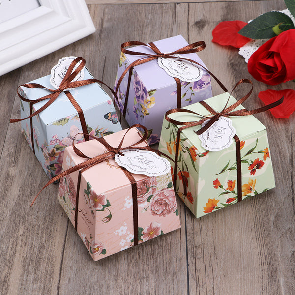 10 Pc. Floral Paper Treat Candy Box