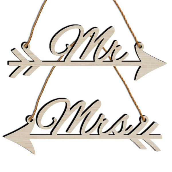 1Pair Mr & Mrs Arrow Signs Wedding Party Chair Decor