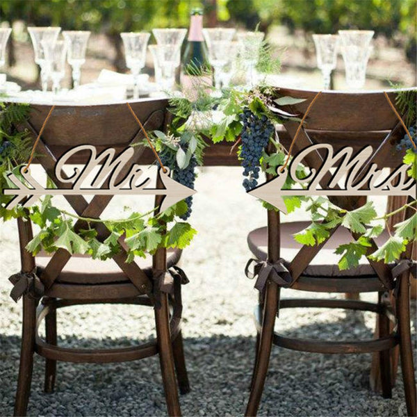 1Pair Mr & Mrs Arrow Signs Wedding Party Chair Decor -  [product_type] - ShaadiMagic