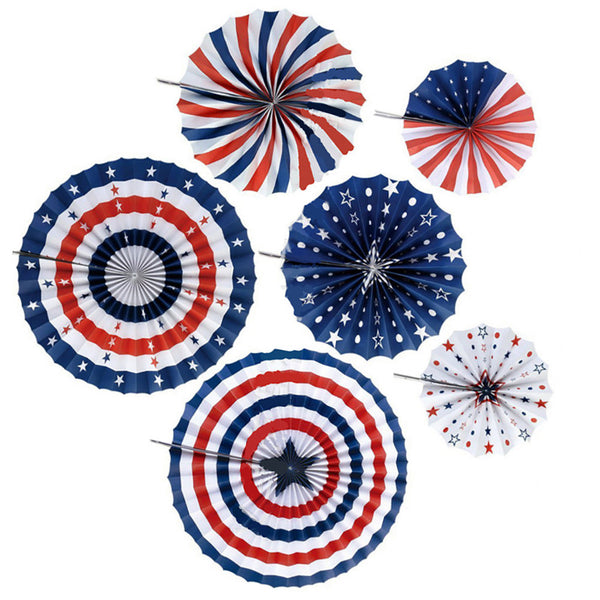 6 Pc. Flag of the United State Paper Fans -  [product_type] - ShaadiMagic