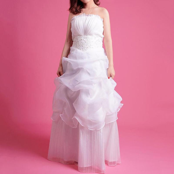 Wedding White Luxury Lace Strapless Floor Length Dress