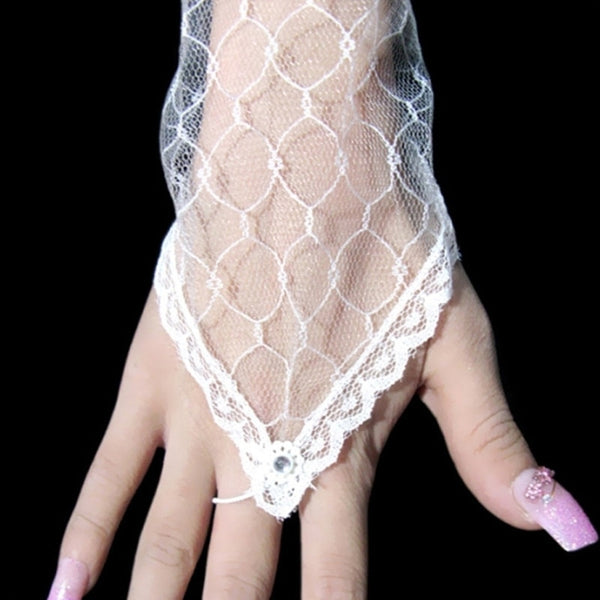Lace Mesh Long Elbow Length Gloves -  [product_type] - ShaadiMagic