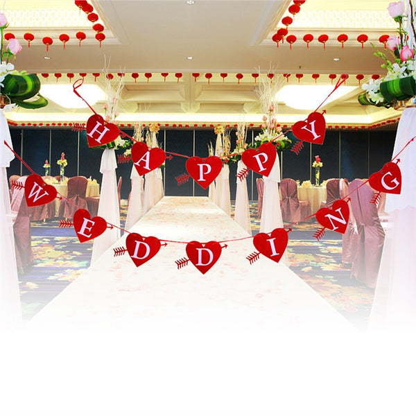HAPPY WEDDING Banner Heart Shaped