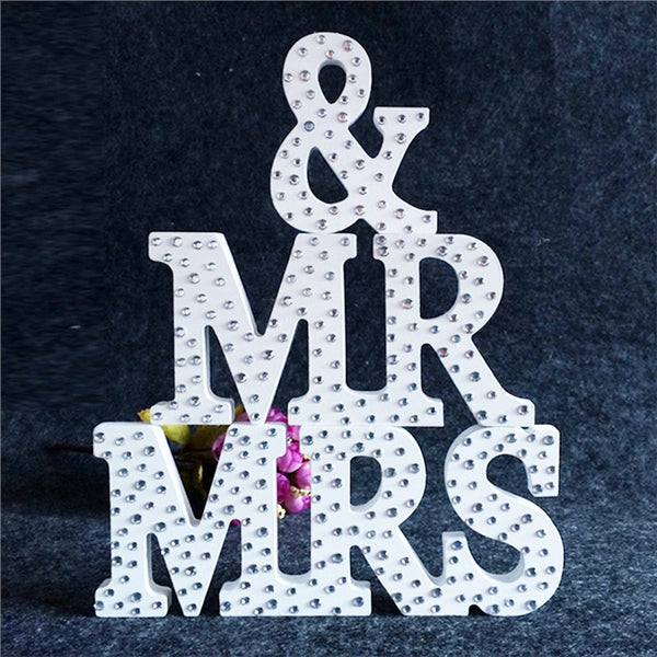 MR & MRS Wooden Letters Rhinestone -  [product_type] - ShaadiMagic