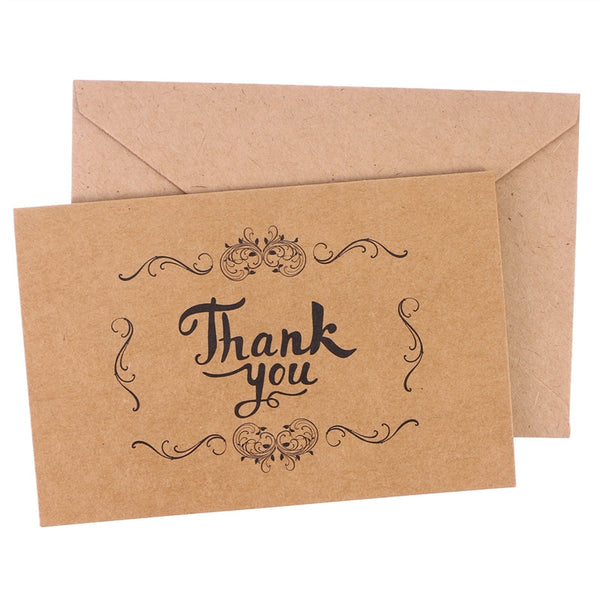 10 Pc. Kraft Paper THANK YOU Cards Folding