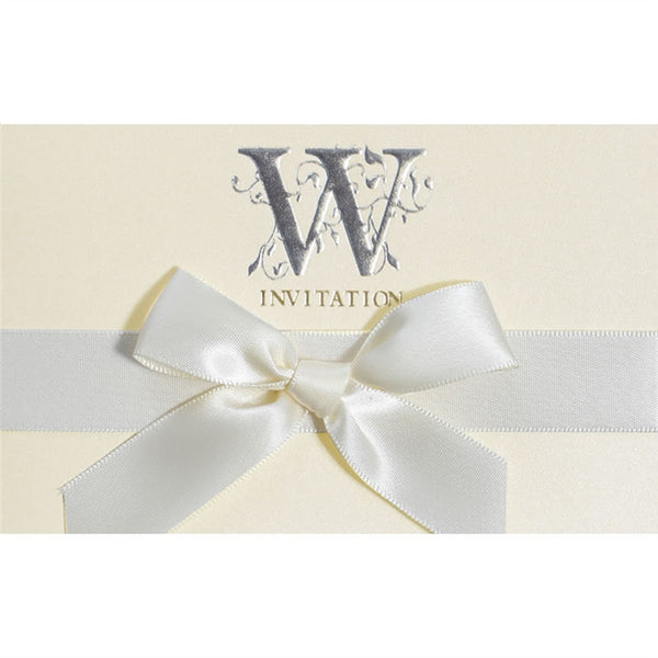 6 Pc. Invitation Bow Card Pearl Paper -  [product_type] - ShaadiMagic
