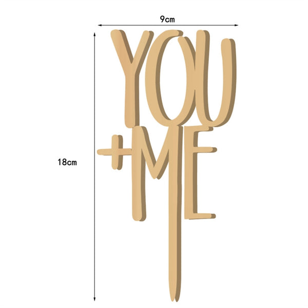 YOU + ME Cake Topper Wooden -  [product_type] - ShaadiMagic