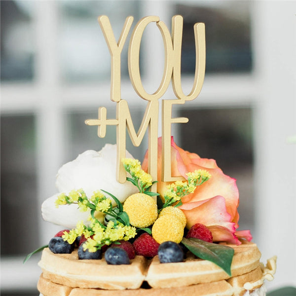 YOU + ME Cake Topper Wooden