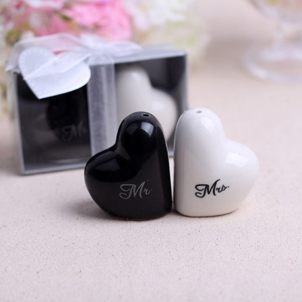 Wedding Heart Ceramic Mr. and Mrs. Salt Pepper Shakers -  [product_type] - ShaadiMagic