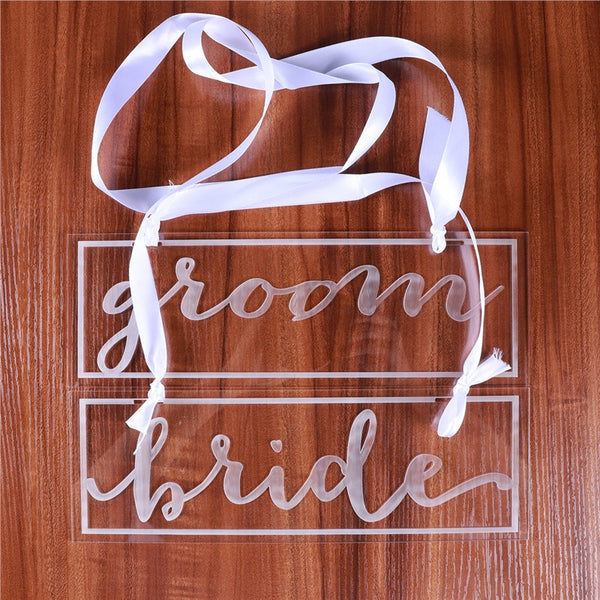 Wedding Sign Decoration Acrylic for Bride Groom Gift Favor