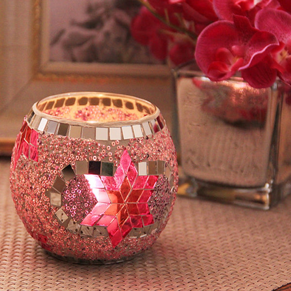 Mosaic Glass Candlestick -  [product_type] - ShaadiMagic