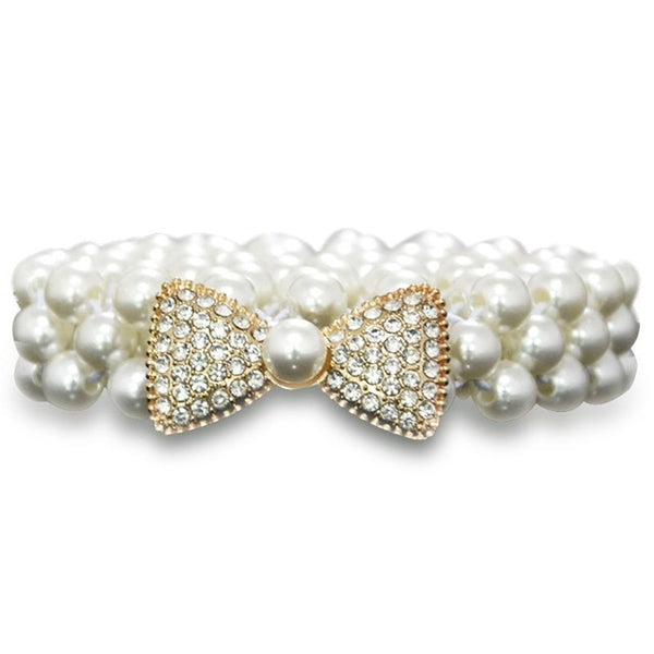 Stylish Buckle Thin Full Faux Pearls Waistband