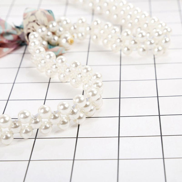 Three Rows Thin Faux Pearls Waistband Belt -  [product_type] - ShaadiMagic