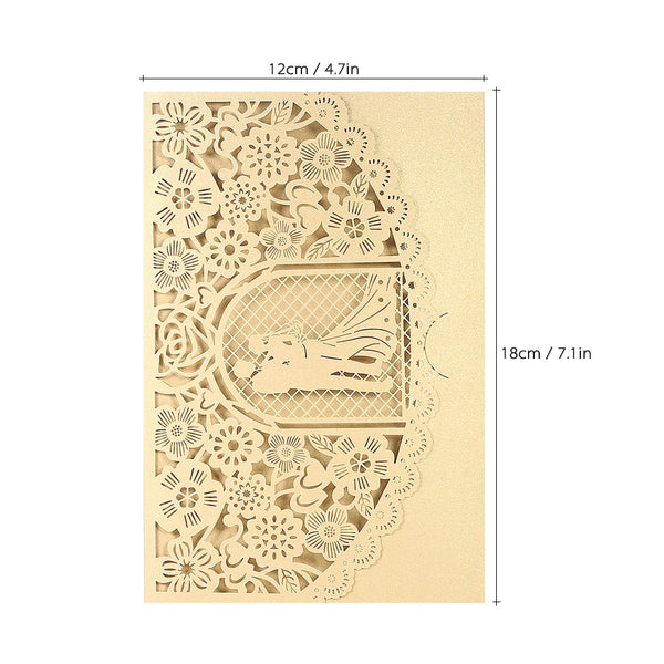 20 Pc. Wedding Invitation Card Cover Pearl Paper Laser Cut Bridal Bridegroom Pattern