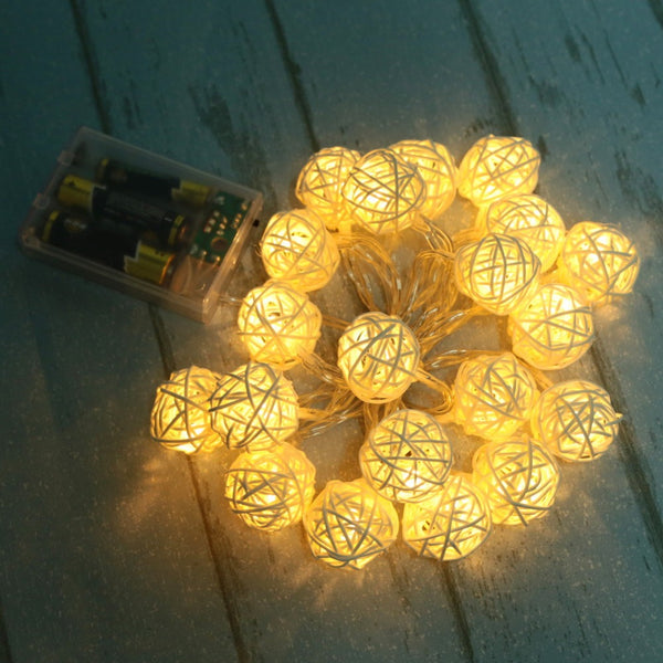Rattan Balls String Lights Garlands -  [product_type] - ShaadiMagic