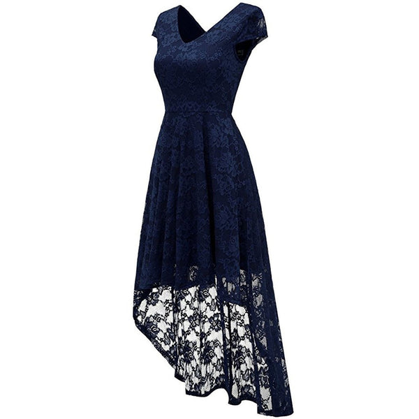 Women's Short Sleeve Lace V Neck Dress -  [product_type] - ShaadiMagic
