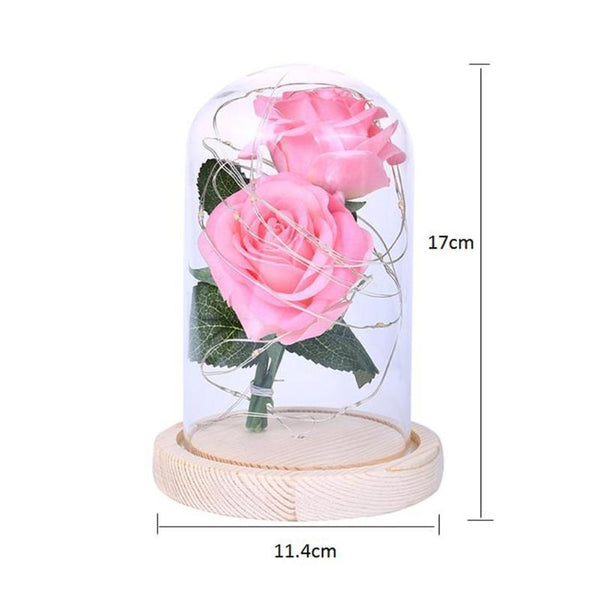Artificial Rose LED Light Glass Dome Night Lamp