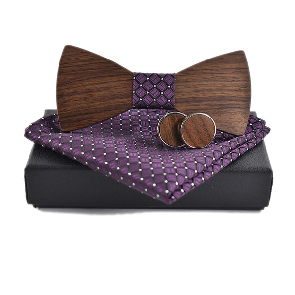 Wooden Classic Bow Tie Kerchief & Cuff-link Design Set -  [product_type] - ShaadiMagic