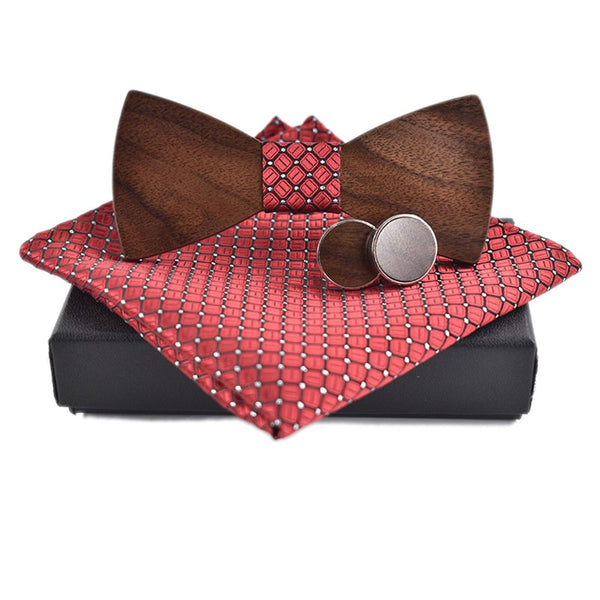 Wooden Classic Bow Tie Kerchief & Cuff-link Design Set