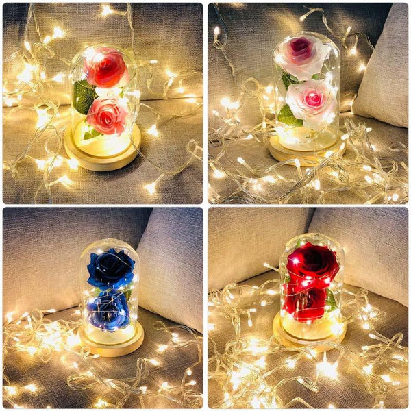 Artificial Rose LED Light Glass Dome Night Lamp -  [product_type] - ShaadiMagic