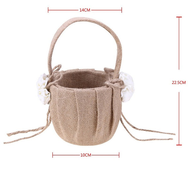 Wedding Flower  Basket Jute Burlap Lace -  [product_type] - ShaadiMagic