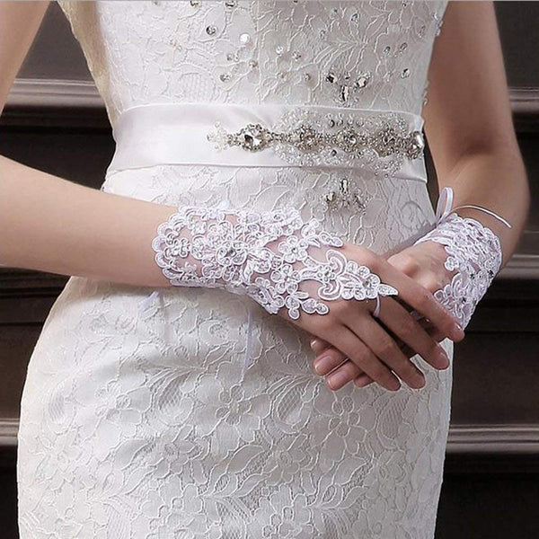 Women Gloves Elegant White Lace Embroidered -  [product_type] - ShaadiMagic