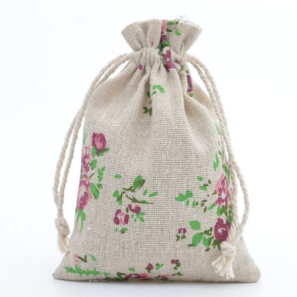 30 Pc. Rose Jute Drawstring Favor Bag