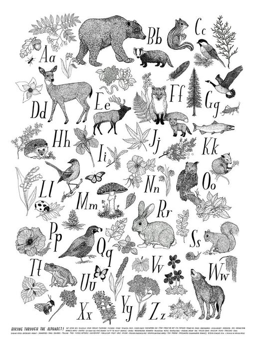 Hiking Through The Alphabet Print (Black & White)