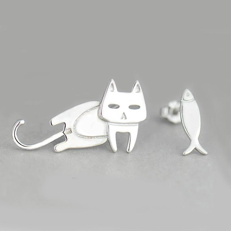 Cat and Fish Earrings - Misty and Molly