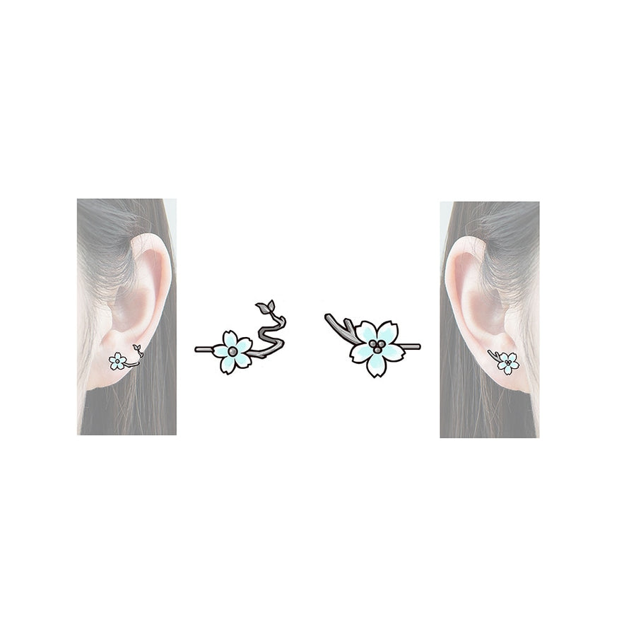 White Cherry Blossom Stud Earrings - Misty and Molly