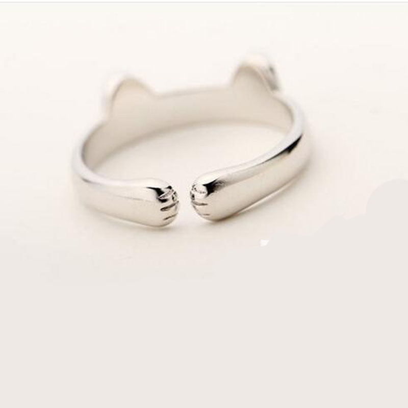 Silver Plated Cat Ears Ring - Misty and Molly