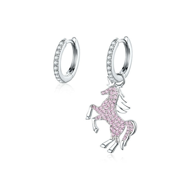 Pink Unicorn Asymmetrical Earrings - Misty and Molly