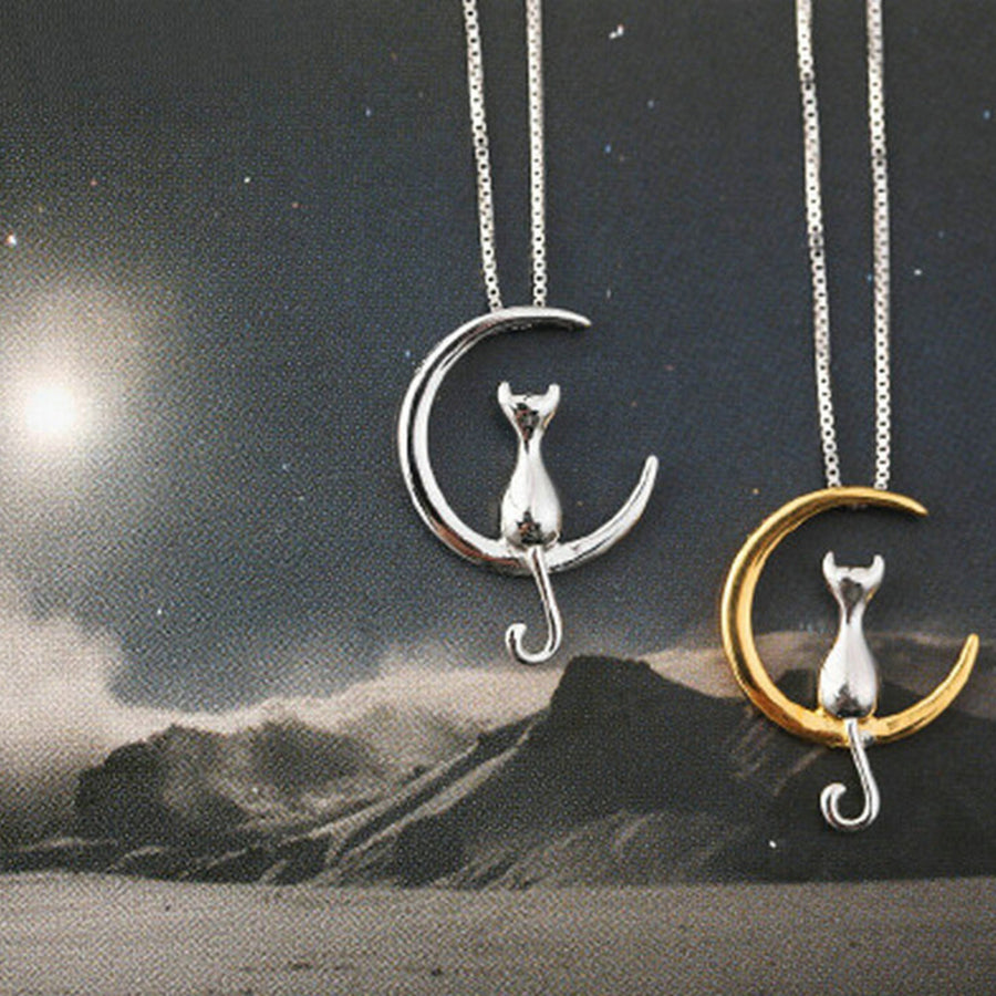 Cat on Moon Necklace - Misty and Molly